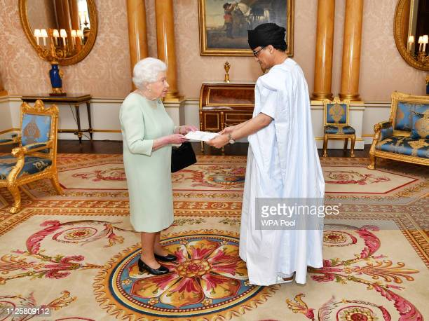 Queen Elizabeth II greets Mr Isselkou Izid Bin Neye the Ambassador of Mauritiania during a private audience at Buckingham Palace on February 19 2019...