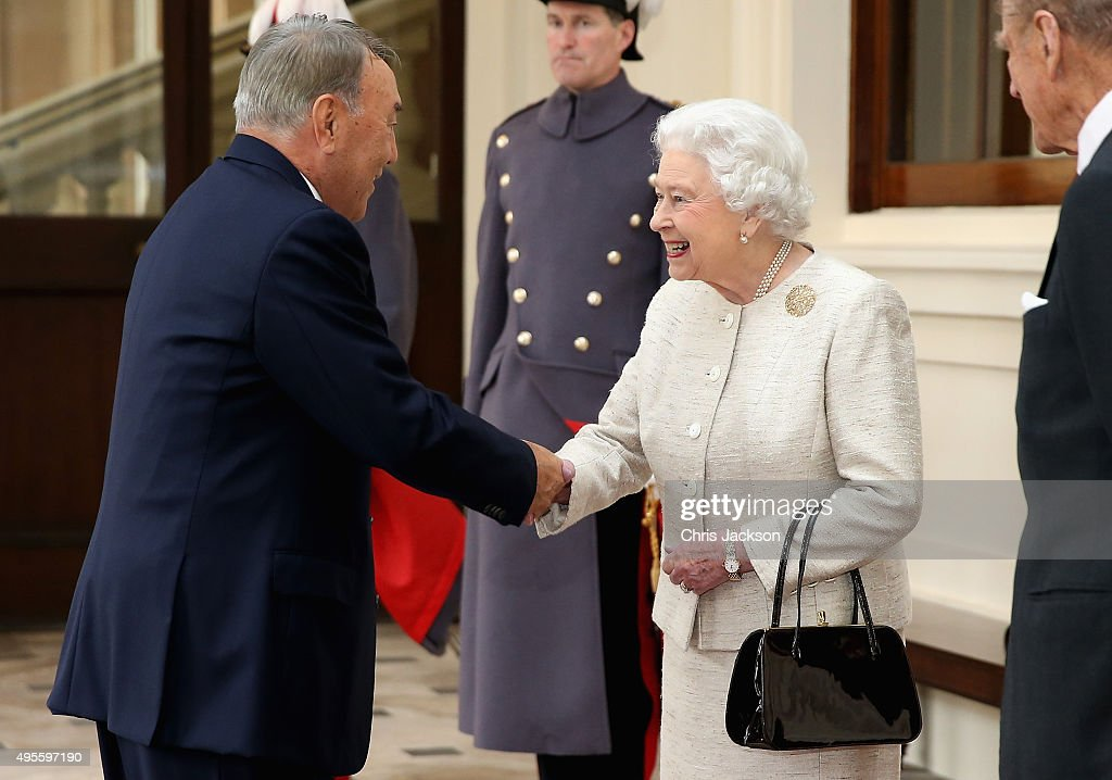 Queen Elizabeth II greets President of the Republic of Kazakhstan Nursultan Nazarbayeva at Buckingham Palace on November 4, 2015 in London, England. The President of Kazakhstan is in the UK on an official visit as a guest of the British Government. He is accompanied by his wife and daughter, Dariga Nazarbayeva, who is also the Deputy Prime Minister.