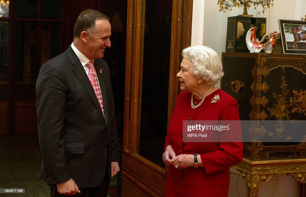 Queen Elizabeth II greets Prime Minister of New Zealand John Key at a audience held at Windsor Castle on October 29, 2015 in Windsor, England.