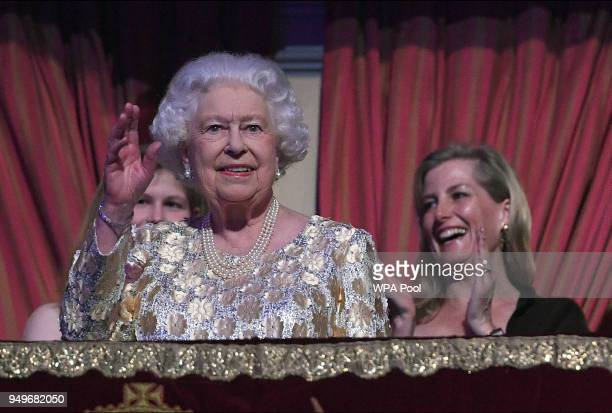 Queen Elizabeth II greets the audience at the Royal Albert Hall for a starstudded concert to celebrate her 92nd birthday on April 21 2018 in London...