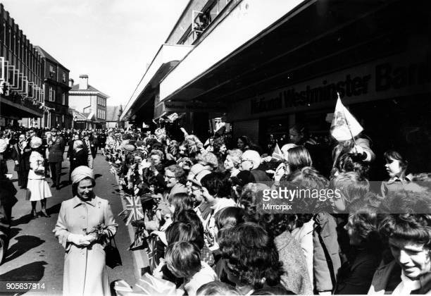 Queen Elizabeth II greets the crowd as she goes walkabout in Wrexham North Wales Picture taken 21st May 1976