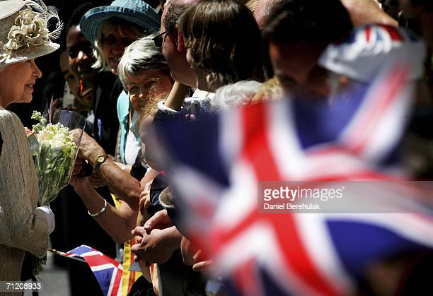 Queen Elizabeth II greets well wishers at St Pauls Cathedral on June 15, 2006 in London, England. The Queen and The Duke Of Edinburgh attended a...