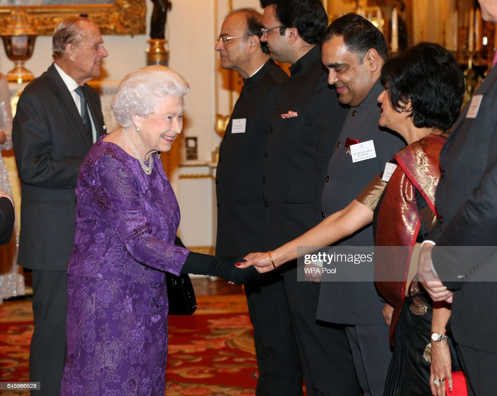 Queen Elizabeth II greets Yashvardhan Kumar Sinha and his wife at a reception this evening to mark the launch of the UK-India Year of Culture 2017 on February 27, 2017 in London, England.