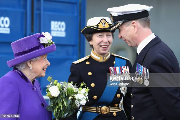 Queen Elizabeth II Her Royal Highness The Princess Royal and Commanding Officer Jerry Kyd attend the Commissioning Ceremony of HMS Queen Elizabeth at...
