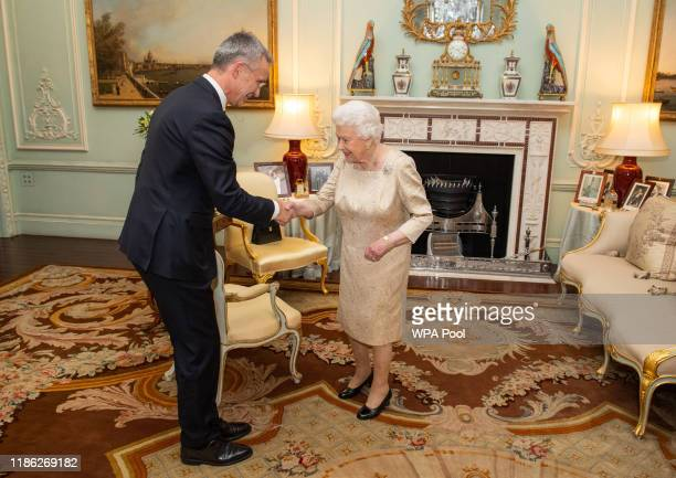 Queen Elizabeth II holds a private audience with Nato Secretary General Jens Stoltenberg in Buckingham Palace on December 3, 2019 in London, England....