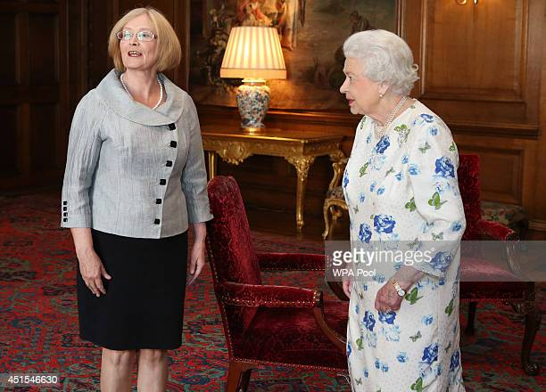 Queen Elizabeth II holds an audience with Presiding Officer of the Scottish Parliament Tricia Marwick at the Palace of Holyroodhouse on July 1 2014...