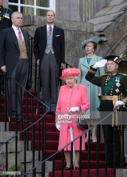 Queen Elizabeth II hosts a garden party with Princess Anne Princess Royal Prince Andrew Earl of Inverness and Prince Edward Earl of Forfar at The...