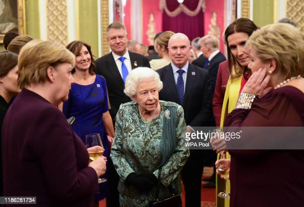 Queen Elizabeth II hosts a reception for NATO leaders at Buckingham Palace on December 3, 2019 in London, England. Her Majesty Queen Elizabeth II...