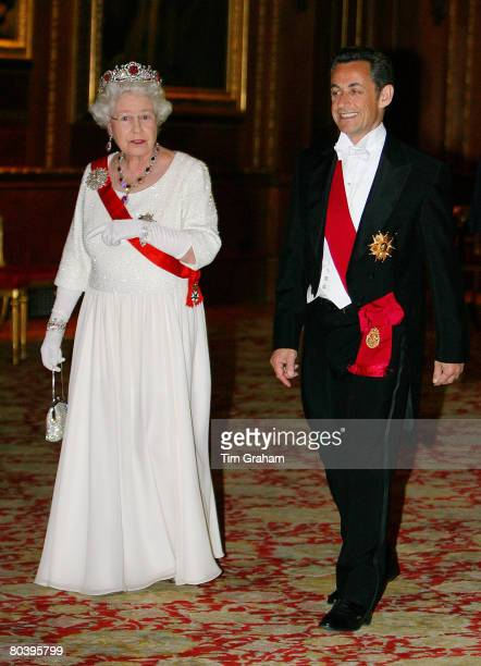 Queen Elizabeth II hosts a State Banquet for President Nicolas Sarkozy at Windsor Castle on the first day of his State Visit on March 26, 2008 in...