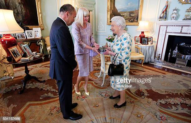 Queen Elizabeth II hosts Lieutenant General Sir Jerry Mateparae the governorgeneral of New Zealand and Lady Mateparae for lunch at Buckingham Palace...