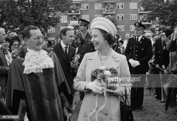 Queen Elizabeth II in Deptford during a walkabout to commemorate her Silver Jubilee London UK 9th June 1977