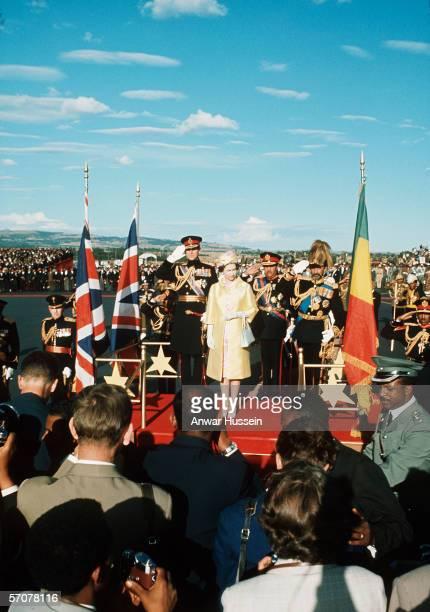 Queen Elizabeth II in Ethiopia with Haile Selassie in February 1965