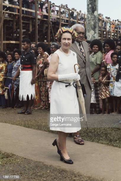 Queen Elizabeth II in Fiji during her royal tour February 1977