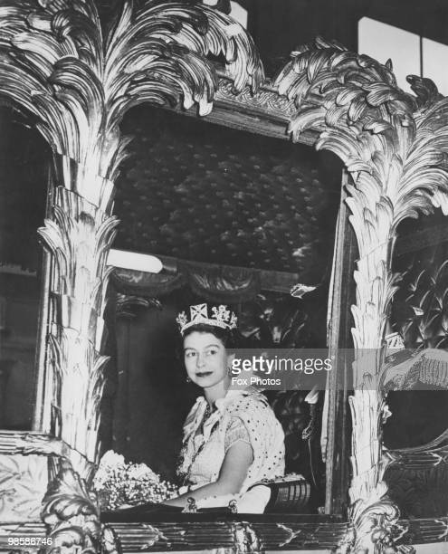 Queen Elizabeth II in her coach on the way to Westminster Abbey for her coronation 2nd June 1953