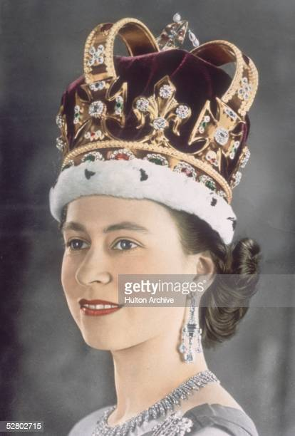 Queen Elizabeth II in her coronation crown, 1953. Known as St Edward's Crown, it was made in 1661 for the coronation of King Charles II, and is...