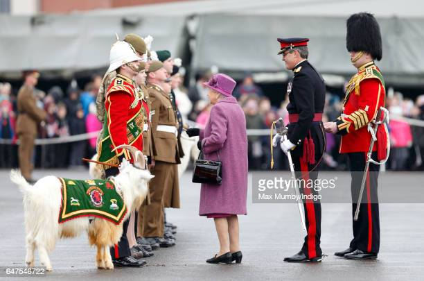 Queen Elizabeth II in her role as ColonelInChief of The Royal Welsh attends a review and presentation of leeks to soldiers of The Royal Welsh to mark...