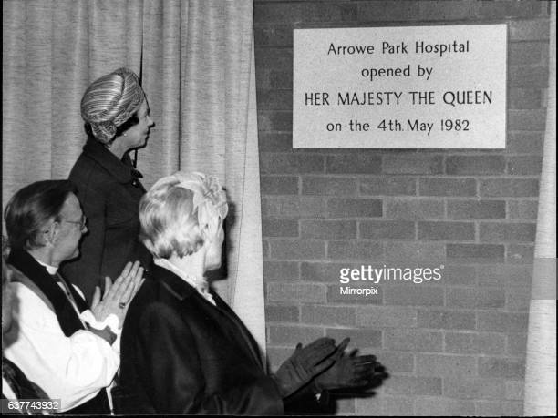 Queen Elizabeth II in Liverpool unveiling a plaque to commemorate the opening of Arrowe Park Hospital Picture taken 4th May 1982