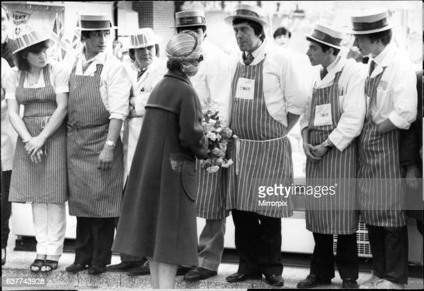 Queen Elizabeth II in Merseyside speaking with local workers Picture taken 4th May 1982
