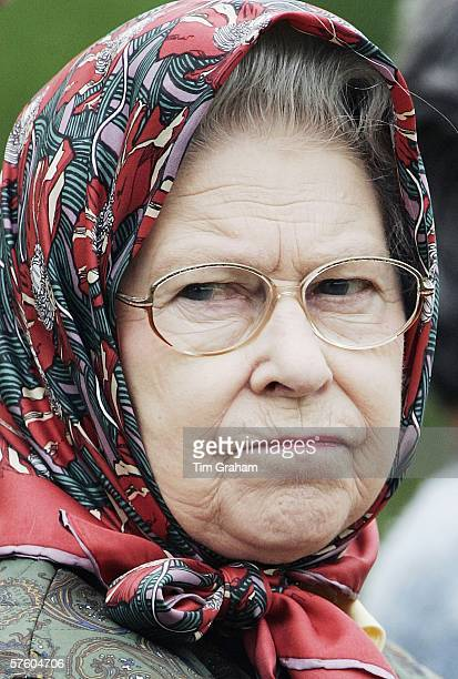 Queen Elizabeth II in silk headscarf at the Royal Windsor Horse Show Windsor Great Park in the grounds of Windsor Castle on May 13 2006 in Windsor...