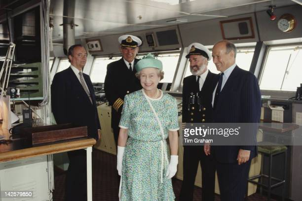 Queen Elizabeth II in the bridge of the cruise liner 'QE2' in Southampton 27th July 1990