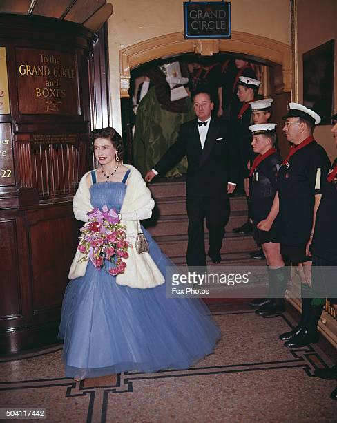 Queen Elizabeth II in the foyer of the Golders Green Empire where she is attending a scout's Gang Show London 28th November 1962