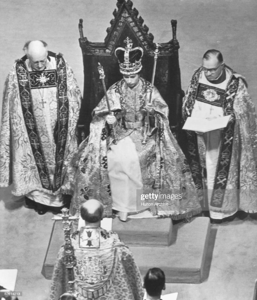 Queen Elizabeth II in Westminster Abbey during her coronation, 2nd June 1953.