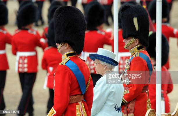 Queen Elizabeth II inpects The Foot Guards during Trooping the Colour at The Royal Horseguards on June 14 2014 in London England