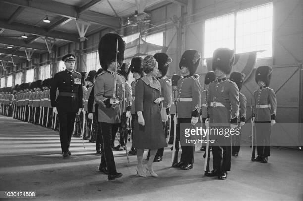 Queen Elizabeth II inspecting guards upon her arrival in Quebec Canada 12th October 1964