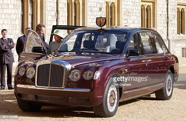Queen Elizabeth II Inspecting The New Bentley State Limousine Car Presented To Her As A Golden Jubilee Gift On Behalf Of A Consortium Of...