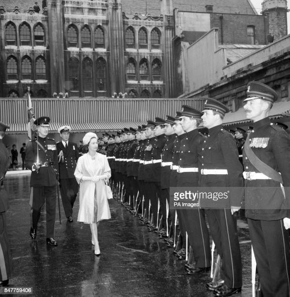 Queen Elizabeth II inspects a Guard of Honour found by the Honorable Artillery Company and lined up in Guildhall yard on her arrival at Guildhall...