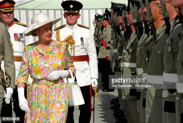 Queen Elizabeth II inspects a guard of honour on her arrival at RAF Akrotiri Cyprus