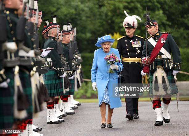 Queen Elizabeth II inspects an Honour Guard at the Palace Of Holyrood House during the Ceremony of The Keys on June 28, 2021 in Edinburgh, Scotland....