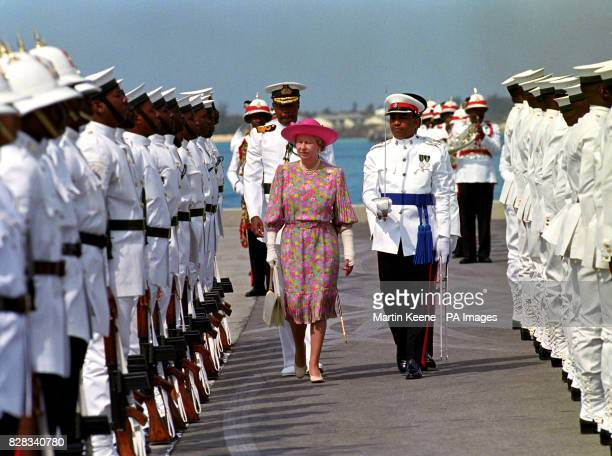 Queen Elizabeth II inspects the Guard of Honour on the Quayside Nassau Bahamas