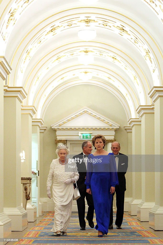 Queen Elizabeth II, Irish President Mary McAleese, Dr. Martin McAleese and Prince Philip, Duke of Edinburgh attend a State Dinner at Dublin Castle, on May 18, 2011 in Dublin, Ireland. The Duke and Queen's visit to Ireland is the first by a British monarch since 1911. An unprecedented security operation is taking place with much of the centre of Dublin turning into a car-free zone. Republican dissident groups have made it clear they are intent on disrupting proceedings.