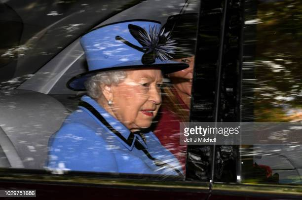 Queen Elizabeth II is driven from Crathie Kirk Church following the service on September 9, 2018 in Crathie, Aberdeenshire, Scotland. Queen Victoria...