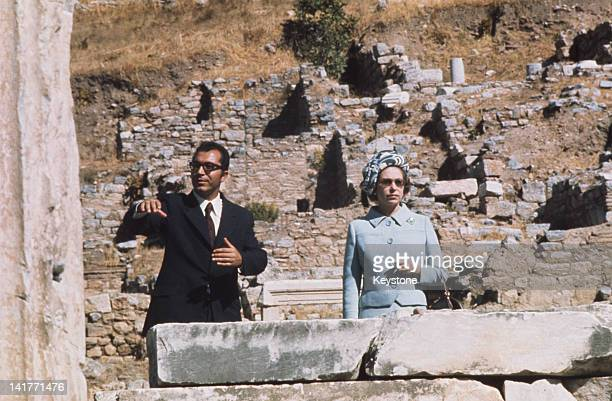 Queen Elizabeth II is given a tour of the ancient city of Ephesus during a State Visit to Turkey October 1971