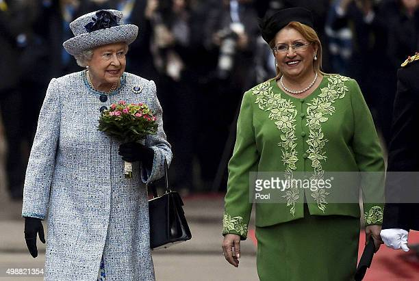 Queen Elizabeth II is greeted by Maltese President Marie Louise Coleiro as she arrives at San Anton Palace in Attard for the Commonwealth Heads of...