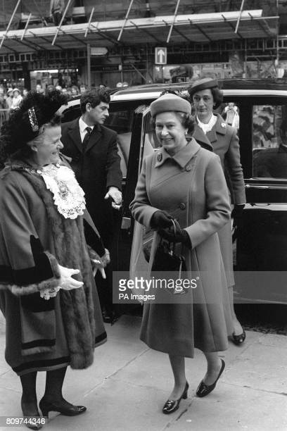 Queen Elizabeth II is greeted by the Lord Mayor of London Dame Mary Donaldson left at All Hallows bytheTower in London when she arrived for a British...
