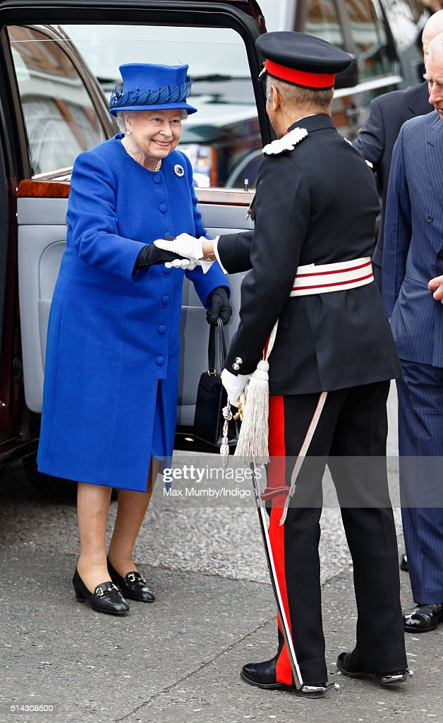 Queen Elizabeth II is greeted by The Lord-Lieutenant of Greater London, Kenneth Olisa as she visits The Prince's Trust Centre in Kennington to mark the 40th anniversary of The Prince's Trust on March 8, 2016 in London, England.