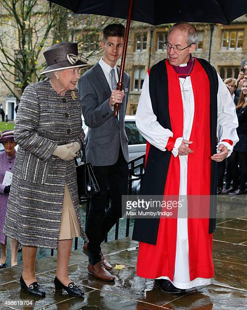 Queen Elizabeth II is greeted by The Most Reverend Justin Welby Archbishop of Canterbury as she attends the Inauguration of the Tenth General Synod...