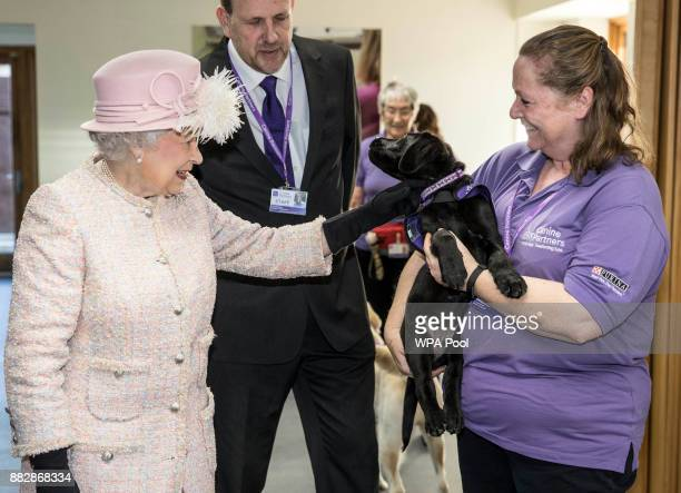Queen Elizabeth II is introduced to 12 week old Labrador puppy 'Flint' by her trainer Ruth Narracott as she tours the facilities at 'Canine Partners'...