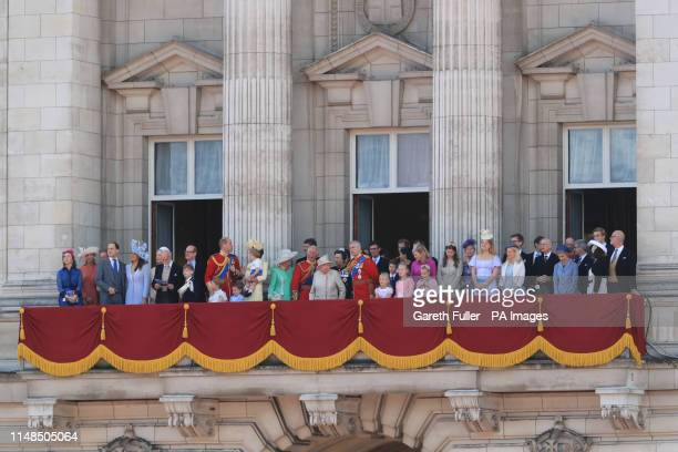 Queen Elizabeth II is joined by members of the royal family on the balcony of Buckingham Place to acknowledge the crowd after the Trooping the Colour...