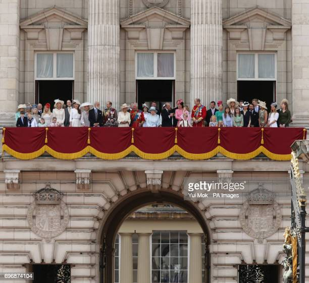 Queen Elizabeth II is joined by members of the Royal family on the balcony of Buckingham Palace in central London following the Trooping the Colour...