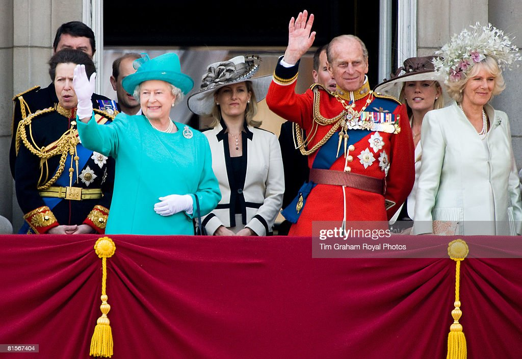 Queen Elizabeth II is joined by Prince Philip, Duke of Edinburgh and Camilla Duchess of Cornwall on the balcony of Buckingham Palace for Trooping The Colour celebrations on June 14, 2008 in London, England. The ceremony is Queen Elizabeth II's annual birthday parade and dates back to the time of Charles II in the 17th Century when the Colours of a regiment were used as a rallying point in battle.