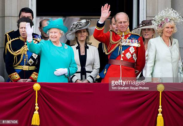 Queen Elizabeth II is joined by Prince Philip Duke of Edinburgh and Camilla Duchess of Cornwall on the balcony of Buckingham Palace for Trooping The...