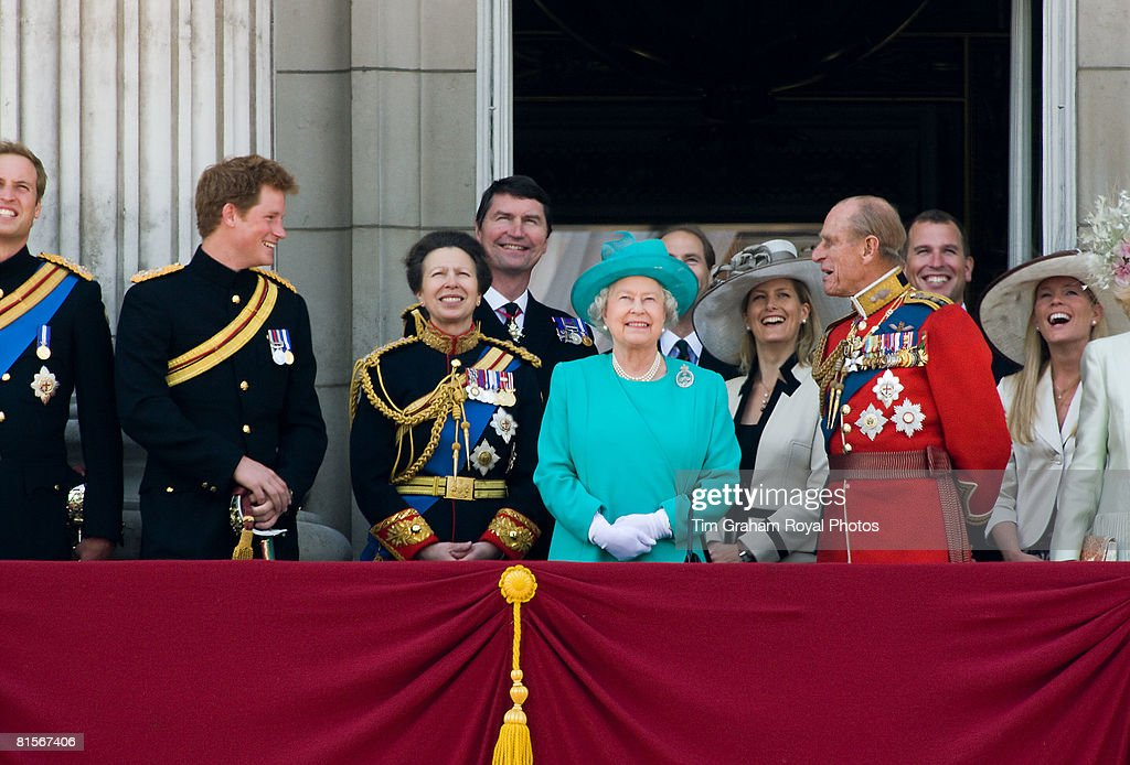Queen Elizabeth II is joined by Prince Philip, Prince William, Prince Harry, Princess Anne and other Royals on the balcony of Buckingham Palace for Trooping The Colour celebrations on June 14, 2008 in London, England.