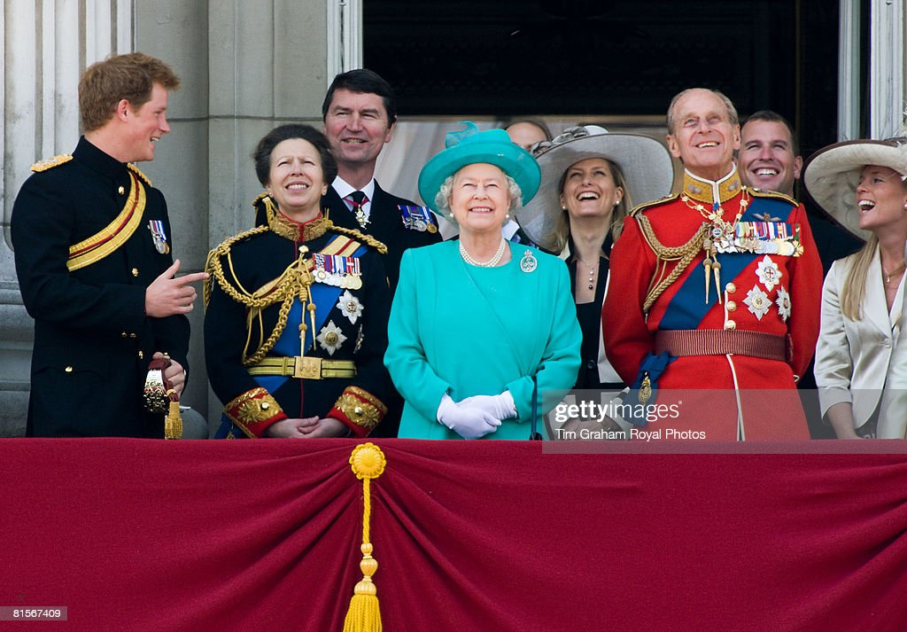 Queen Elizabeth II is joined by Prince Philip, Prince William, Prince Harry, Princess Anne and others on the balcony of Buckingham Palace for Trooping The Colour celebrations on June 14, 2008 in London, England.