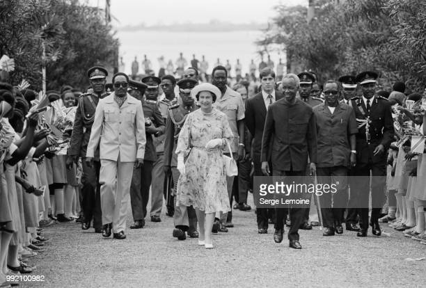 Queen Elizabeth II is met by President Julius Nyerere at Dar es Salaam airport, at the start of a three-day State Visit, 18th July 1979. Prince...