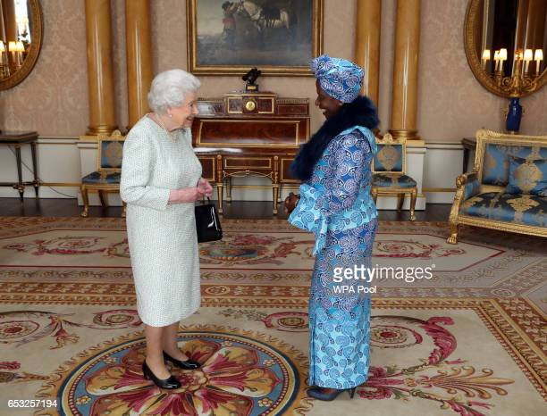 Queen Elizabeth II is presented with Letters of Credence by Her Excellency the Ambassador of the Democratic Republic of the Congo Marie Ndjeka Opombo...