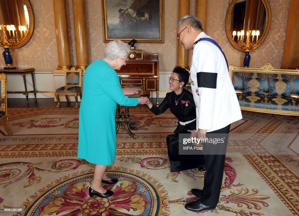 Queen Elizabeth II is presented with Letters of Credence by the Ambassador from the Kingdom of Thailand, Mr. Pisanu Suvanajata, accompanied by his wife, Mrs. Thipayasuda Suvanajata during a private audience with Her Majesty at Buckingham Palace on March 22, 2017 in London, England.